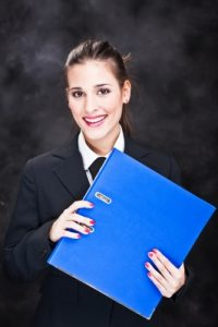 business woman with files